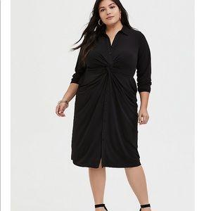 Black Studio Knit Button Front Twist Shirt Dress